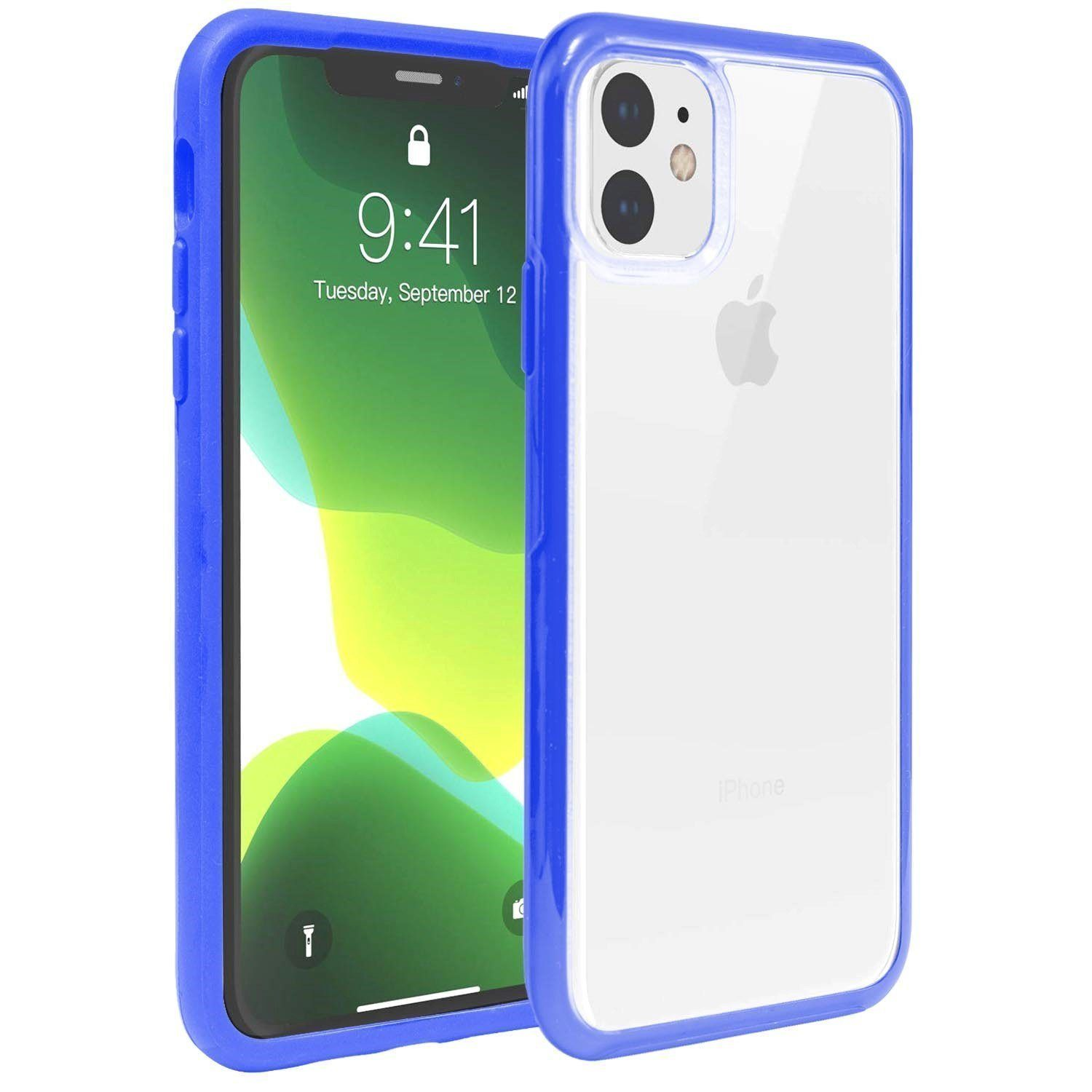 Hard Shell Transparent Back Case for iPhone 11 - Blue Edge