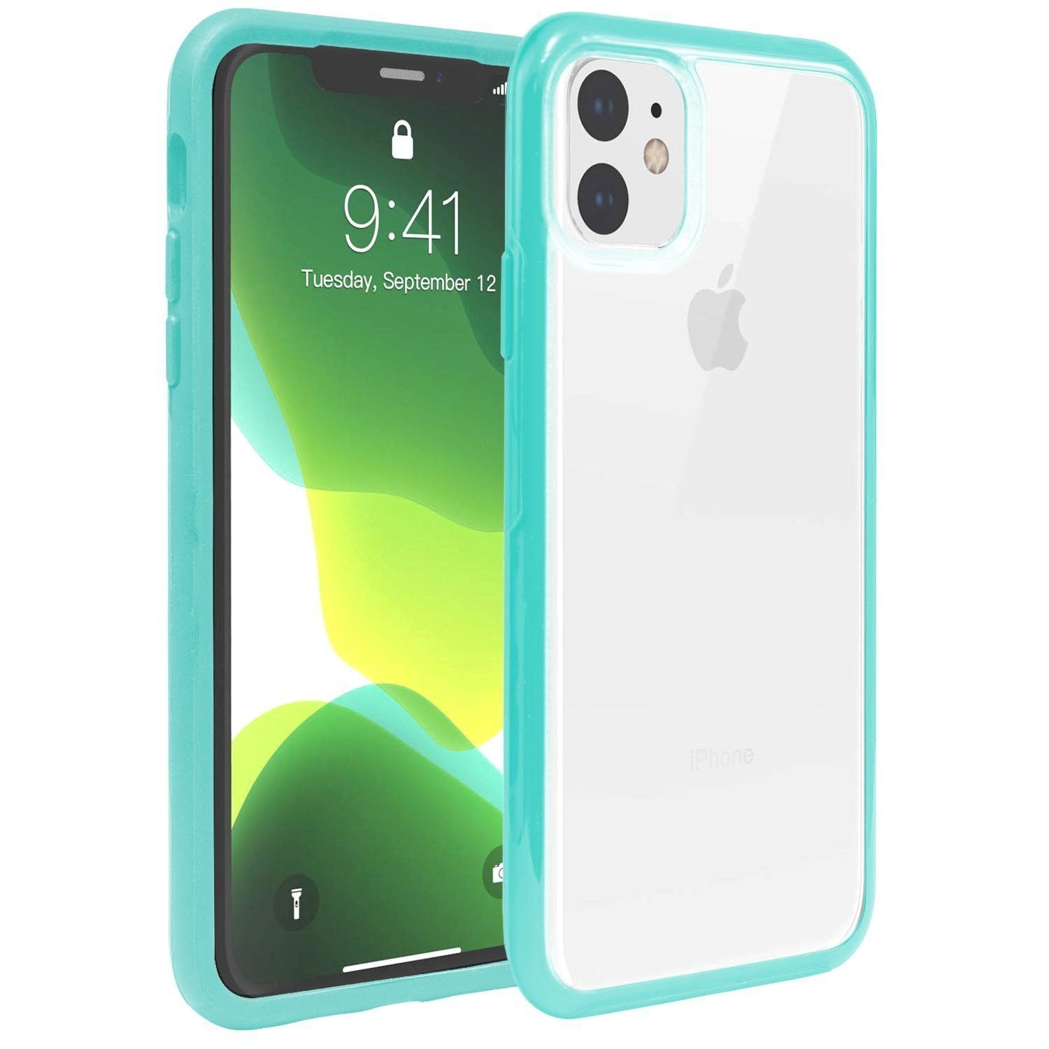 Hard Shell Transparent Back Case for iPhone 11 Pro Max - Teal Edge
