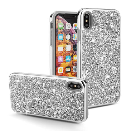 Color Diamond Hard Shell Case for iPhone Xs Max - Silver