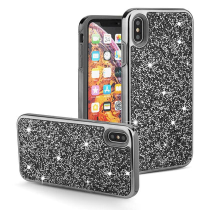Color Diamond Hard Shell Case for iPhone X, XS - Black