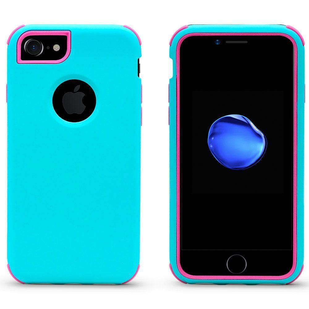 Bumper Hybrid Combo Layer Protective Case for iPhone 6/7/8 Plus - Teal & Hotpink