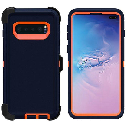 DualPro Protector Case for Samsung S10 - Dark Blue & Orange
