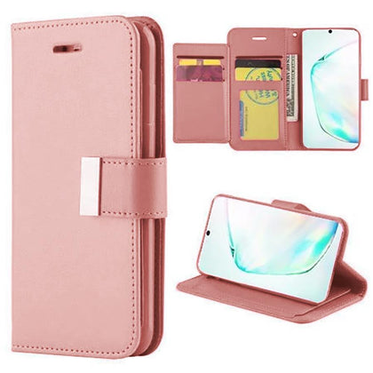 Flip Leather Wallet Case For Samsung Galaxy Note 10 Plus - Rose Gold