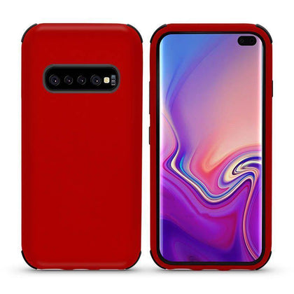 Bumper Hybrid Combo Layer Protective Case for Samsung Galaxy S10 Plus - Red & Black