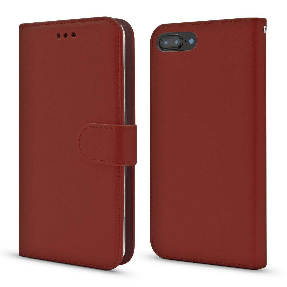 Magnet Leather Wallet Case for iPhone 7/8 Plus - Brown