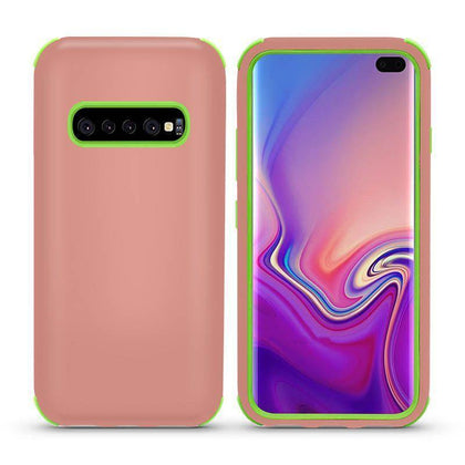 Bumper Hybrid Combo Layer Protective Case for Samsung Galaxy S10 Plus - Rose Gold & Green