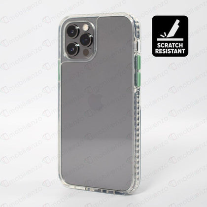 Scratch-Resistant Case for iPhone 12 Mini (5.4) - Clear w/ Green Button