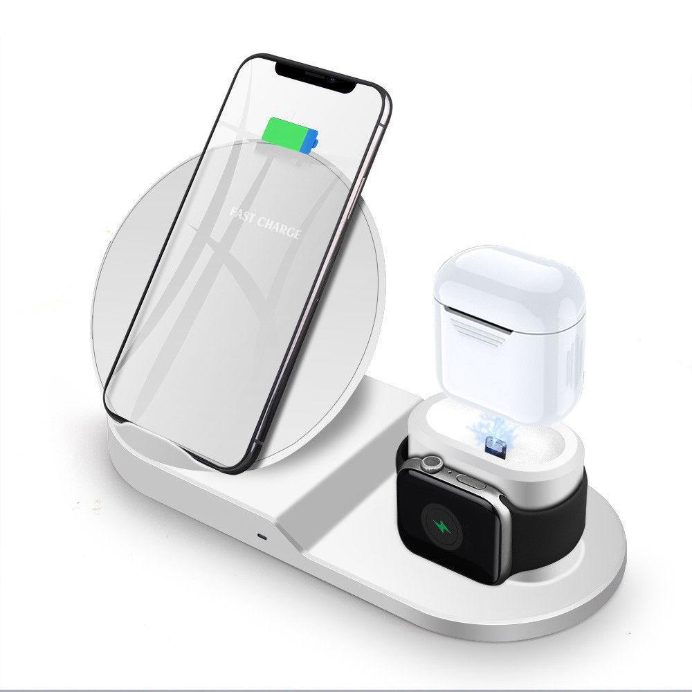Wireless Charger Triple, Fast Charge Stand for iPhone, iWatch and AirPods - White