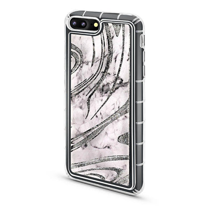 Abstract Liquid Case for iPhone 7/8 - Marble - Silver
