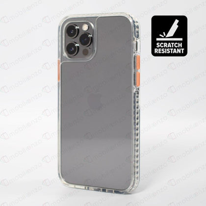Scratch-Resistant Case for iPhone 12 / 12 Pro (6.1) - Clear w/ Orange Button
