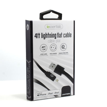 iessentials 4ft Lightning Flat Cable (MFI Certified) - Black