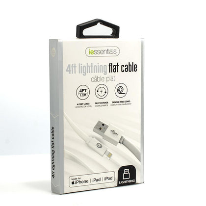 iessentials 4ft Lightning Flat Cable (MFI Certified) - White