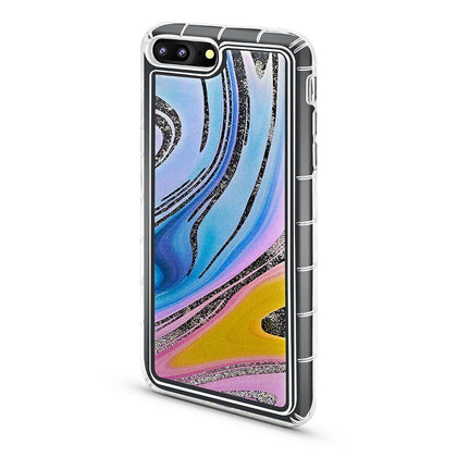 Abstract Liquid Case for iPhone 7/8 - Rainbow - Silver