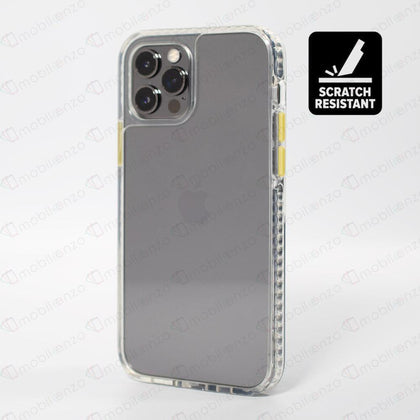 Scratch-Resistant Case for iPhone 12 / 12 Pro (6.1) - Clear w/ Yellow Button