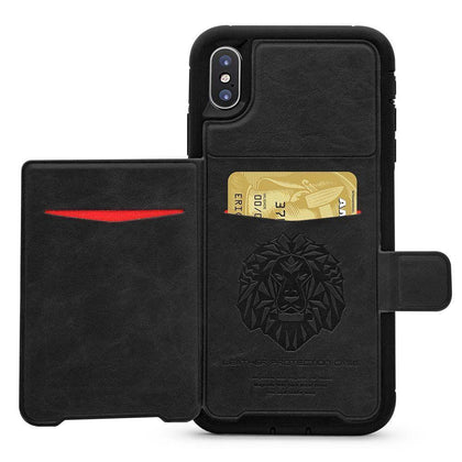 Dual Leather Card Case for iPhone XR - Black