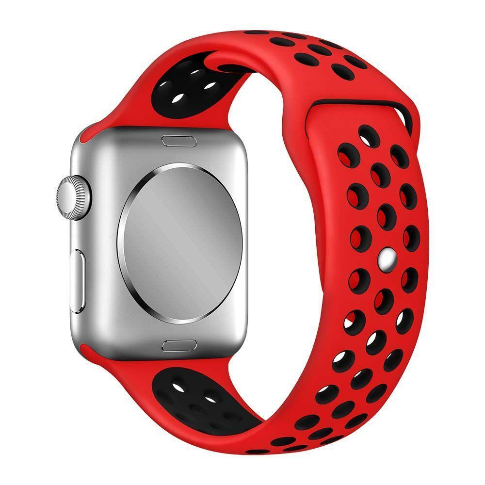 Air Silicone Band for Apple Watch (42MM) - Red-Black