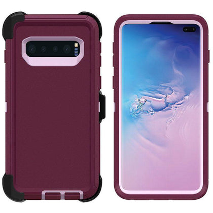 DualPro Protector Case for Samsung S10 E - Burgundy & Light Pink