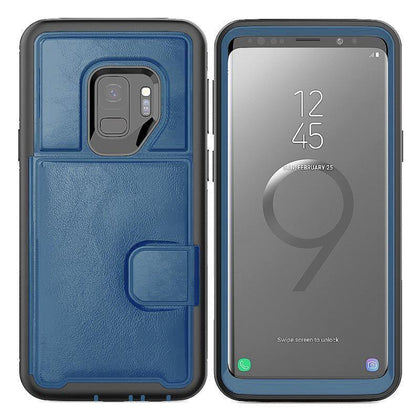Dual Leather Card Case for Galaxy S9 - Blue