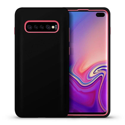 Hybrid Combo Layer Protective Case for Galaxy S10 - Black & Pink