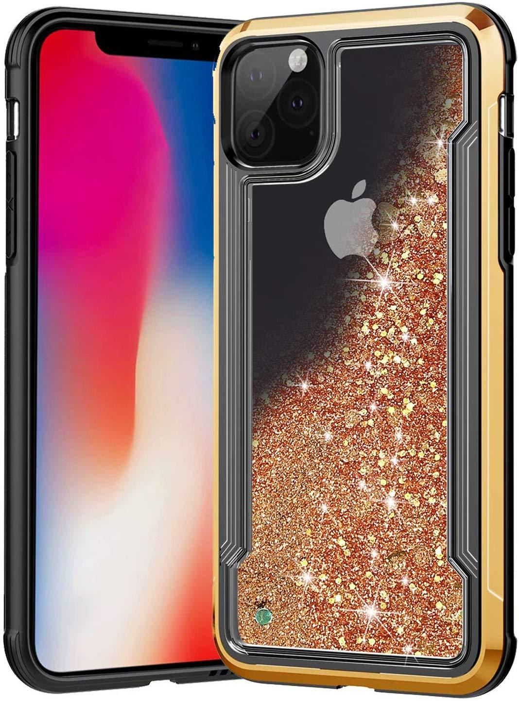 Liquid Glitter Hard Shell Case for iPhone 11 Pro - Gold