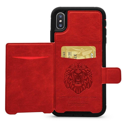 Dual Leather Card Case for iPhone XR - Red