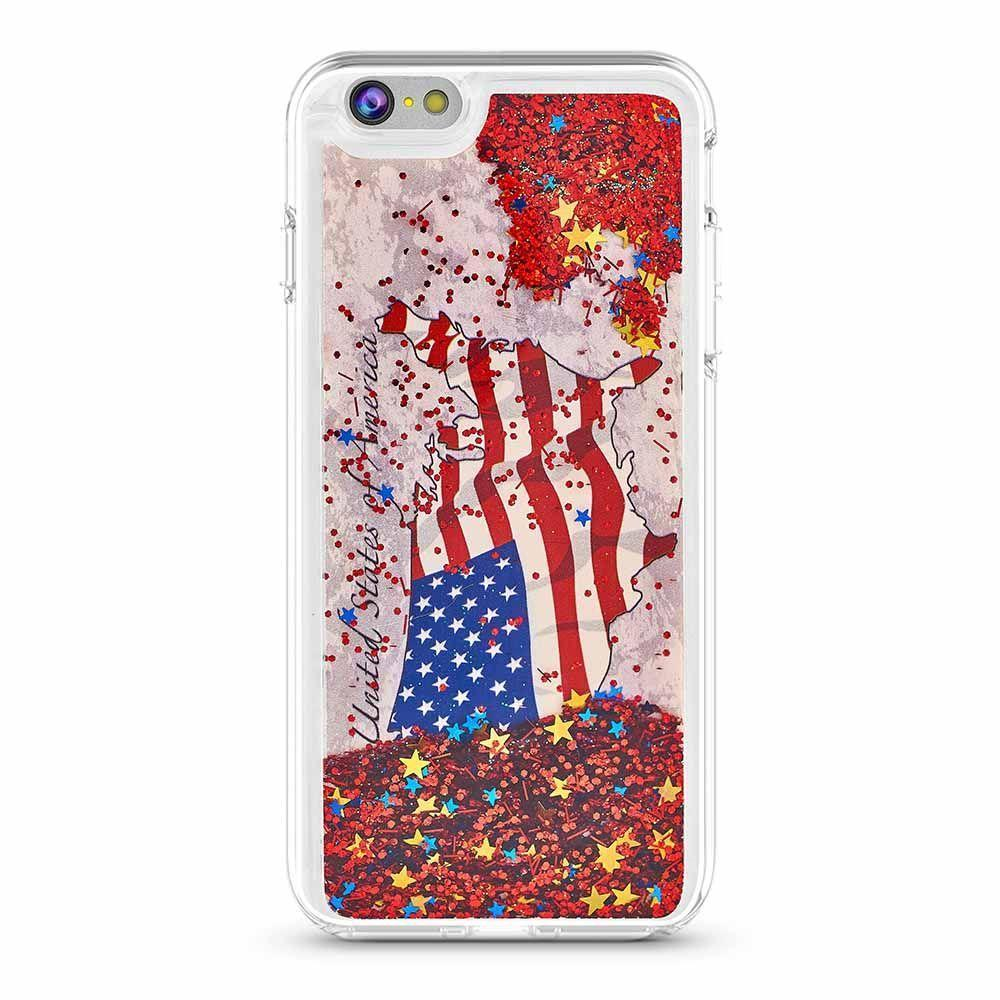 US Map Flag Liquid Case for iPhone 6P - Red