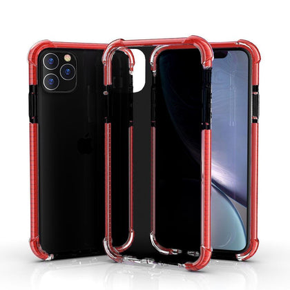 Hard Elastic Clear Case for iPhone  11 - Black & Red Edge