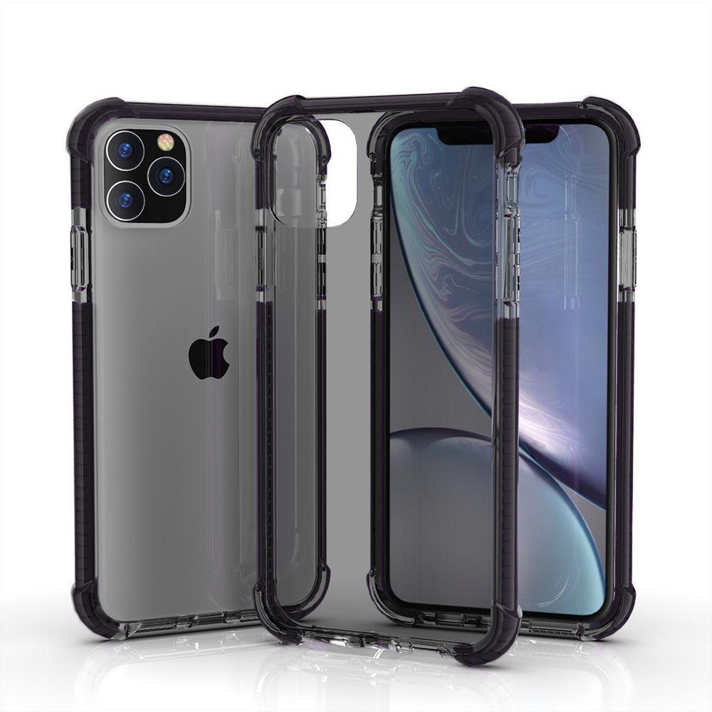 Hard Elastic Clear Case for iPhone  11 Pro - Grey & Black Edge