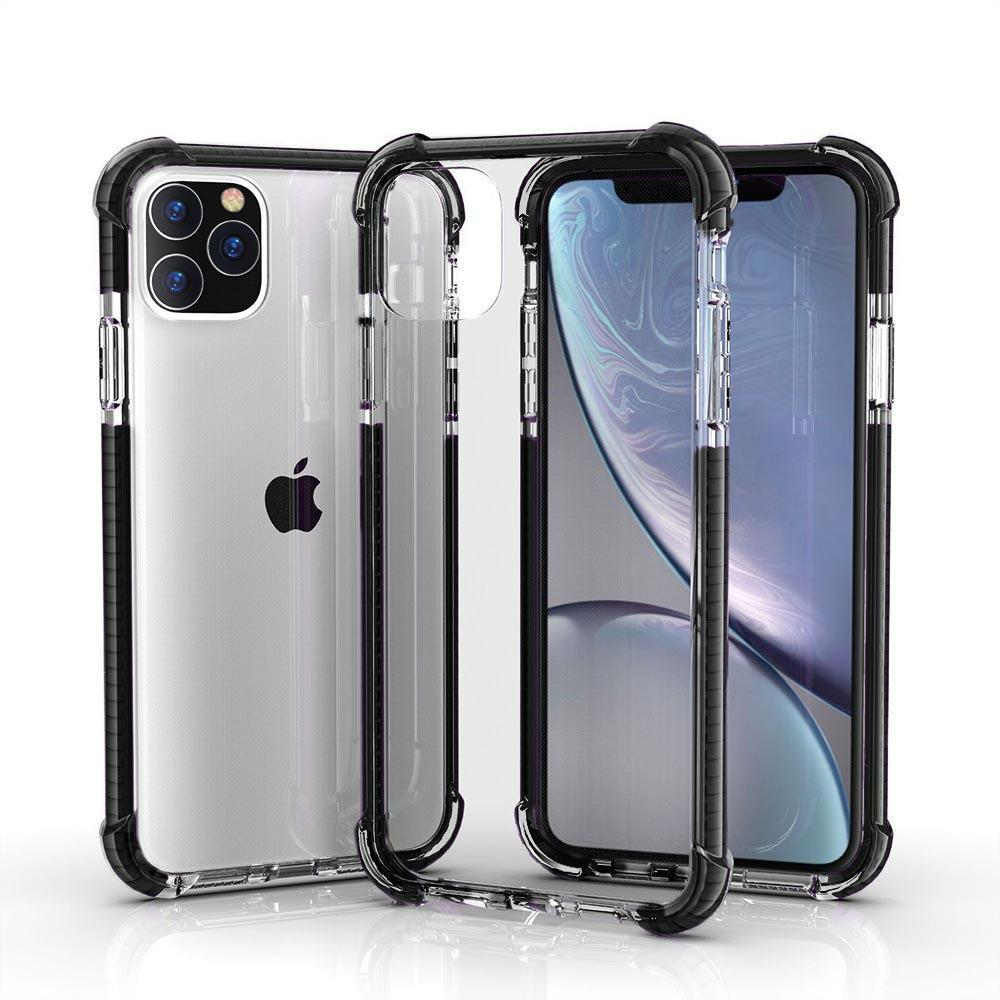 Hard Elastic Clear Case for iPhone  11 Pro - Black Edge