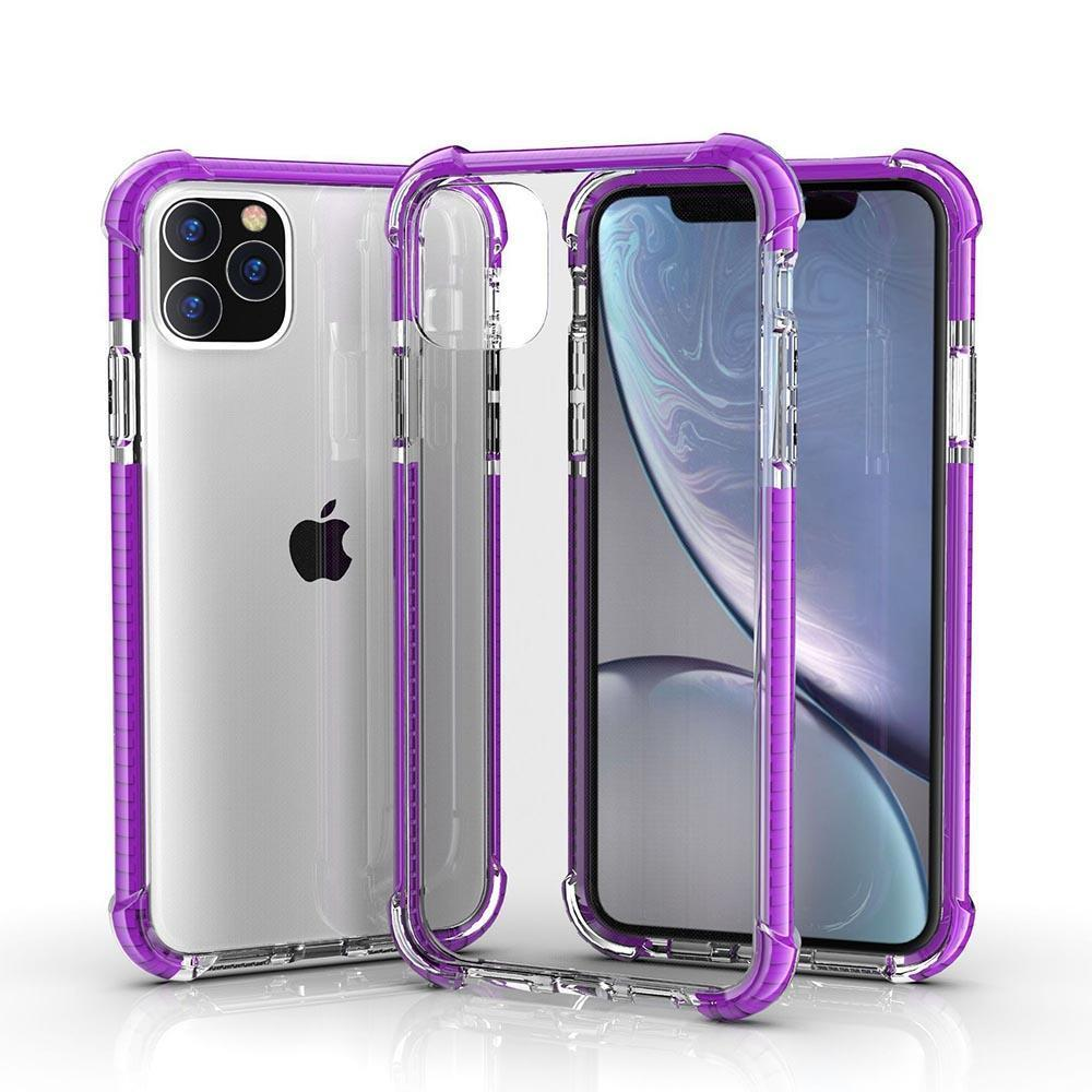 Hard Elastic Clear Case for iPhone  11 - Purple Edge