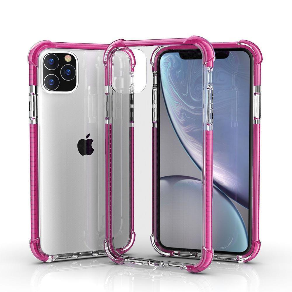 Hard Elastic Clear Case for iPhone  11 Pro Max - Pink Edge