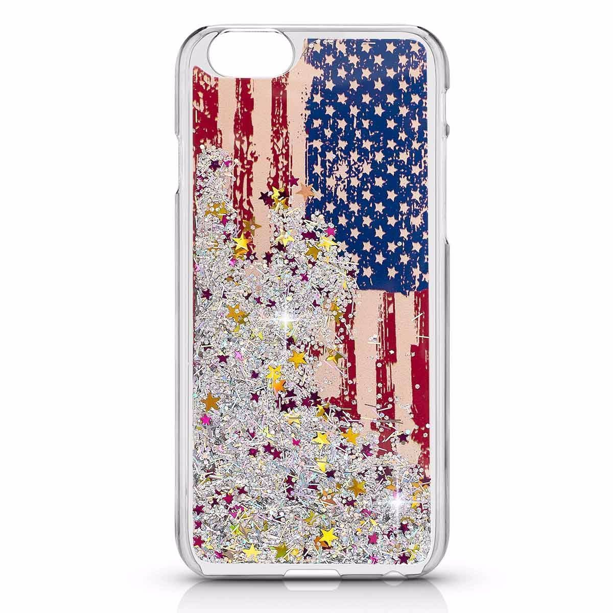 US Flag Liquid Case For I6 - Silver
