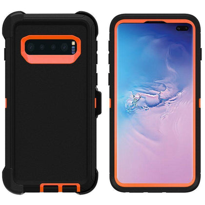 DualPro Protector Case for Samsung S10 - Black & Orange