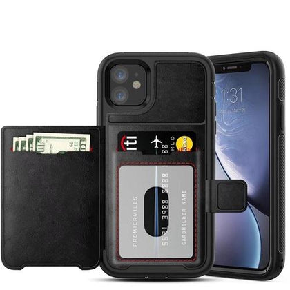 Dual Leather Card Case for iPhone 11 -  Black