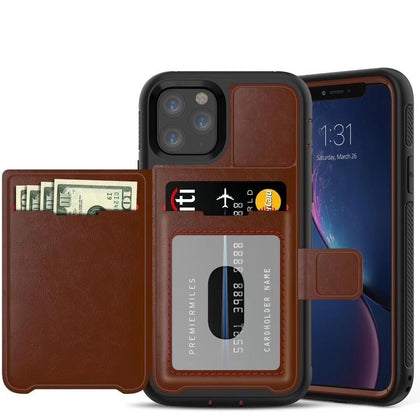 Dual Leather Card Case for iPhone 11 -  Brown