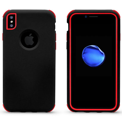 Bumper Hybrid Combo Layer Protective Case for iPhone X, Xs - Black & Red
