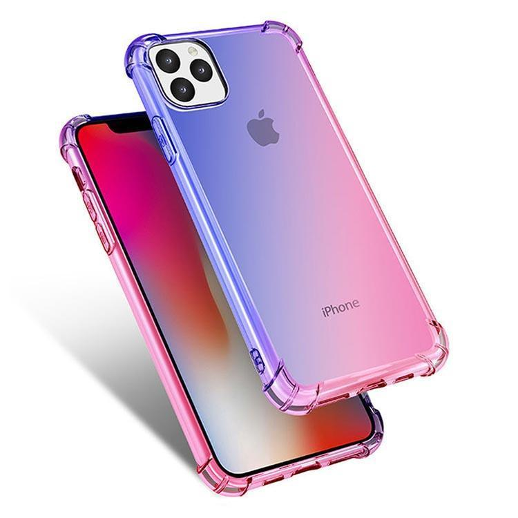 Colorful Clear Case for iPhone  11 - Blue & Pink