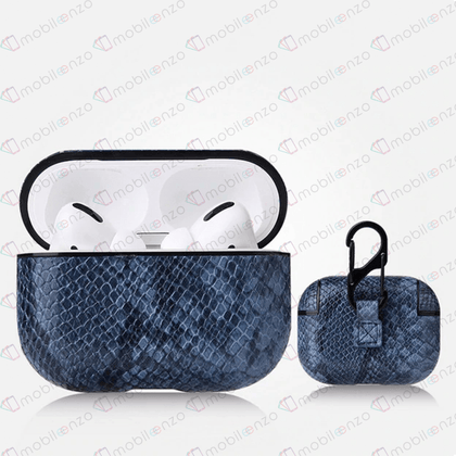 Snake Leather Case for Apple Airpods Pro - Blue
