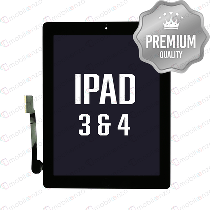 Digitizer for iPad 3 & 4 with Home Button & Home  Button Flex - Black