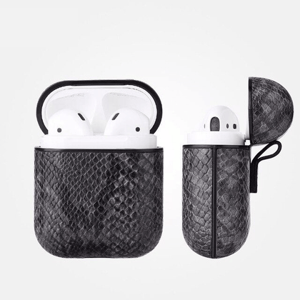 Snake Leather Case for Apple Airpods - Black & Gray
