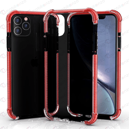 Hard Elactic Clear Case for iPhone 12 Pro Max (6.7) - Black & Red Edge