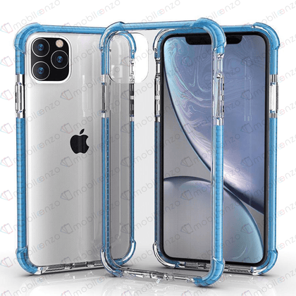 Hard Elactic Clear Case for iPhone 12 Pro Max (6.7) - Blue Edge