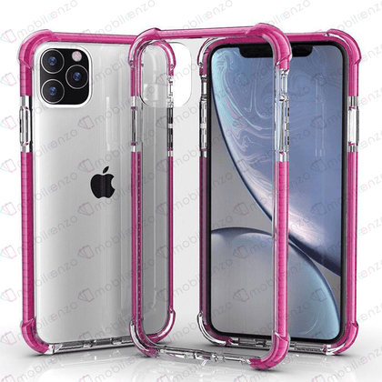 Hard Elactic Clear Case for iPhone 12 Pro Max (6.7) - Pink Edge