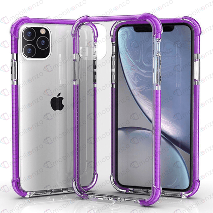 Hard Elactic Clear Case for iPhone 12 Pro Max (6.7) - Purple Edge