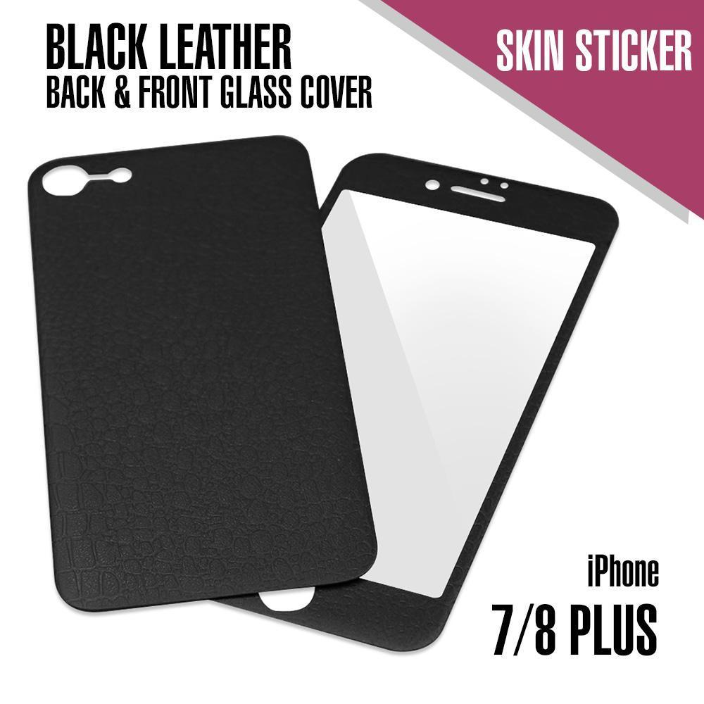 Leather Skin Sticker with Glass Protector for iPhone 7/8 Plus - Black
