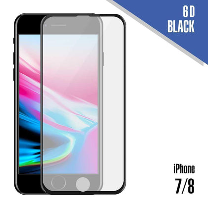 Tempered Glass for iPhone 7, 8 ( 6D ) - Black