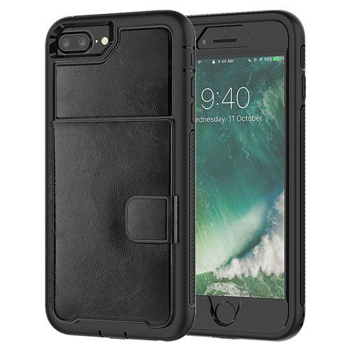 Dual Leather Card Case for iPhone 6/7/8 - Black