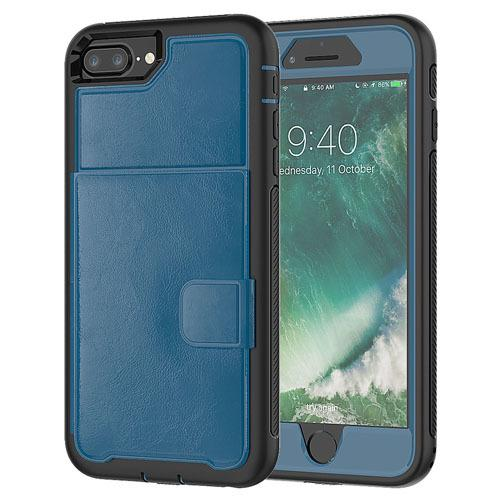 Dual Leather Card Case for iPhone 6/7/8 - Blue