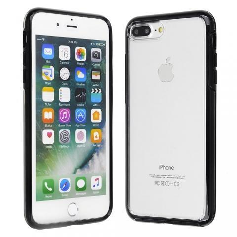 Hard Shell Transparent Back Case for iPhone 8/7/6 Plus - Black Edge