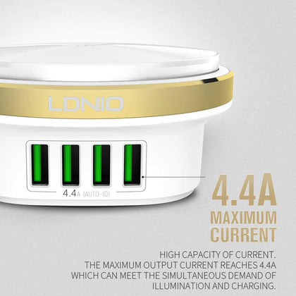 LDNIO A4406 Four USB Port Desktop Home Charger Mobile Phone Charger With LED Light Used As Night Lamp